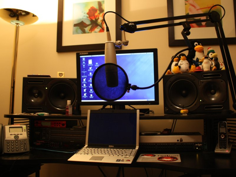 My home office setup, courtesy of PulseAudio.