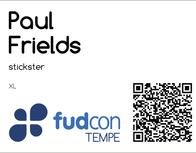 Example QR Code on a FUDCon Tempe badge